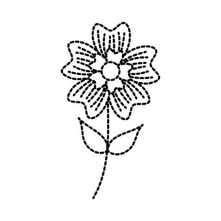 periwinkle flower petal leaves stem nature plant vector illustration