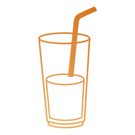 juice in cup glass and straw vector illustration design