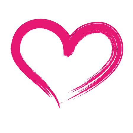 brush drawing heart love romance passion vector illustration Illustration