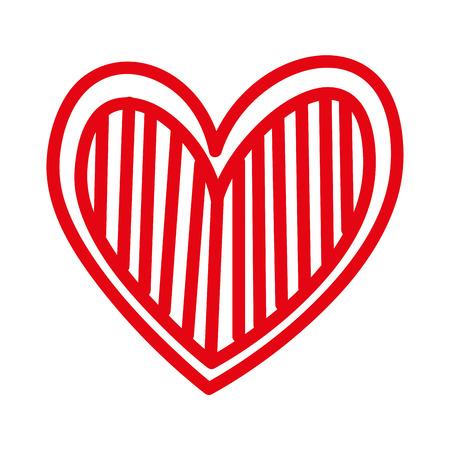 Corazón amor romance pasión decorar rayas vector illustration Foto de archivo - 88839088