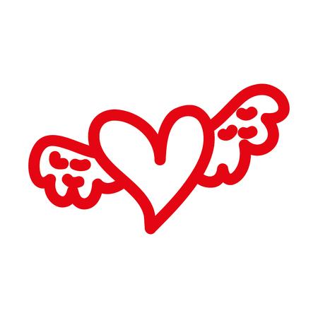 Romantisch winged Herz symbolisiert Romantik und Liebe Vektor-Illustration Standard-Bild - 88839090