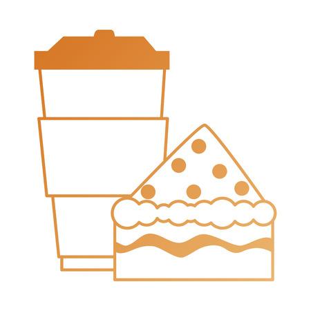 Köstlicher Kuchen Teil mit Getränke-Vektor-Illustration-design Standard-Bild - 88839091