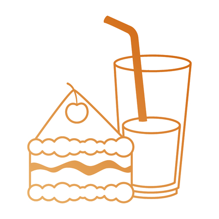 delicious cake portion with beverage vector illustration design
