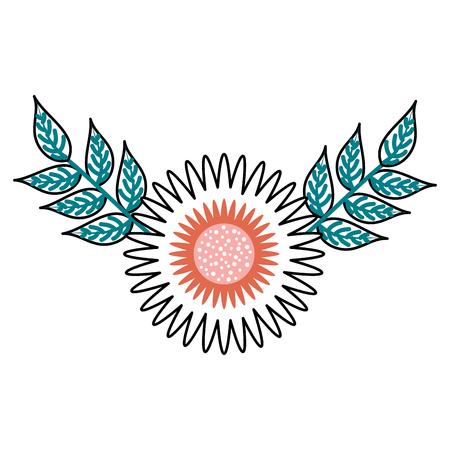 ダリアの花園花飾り葉装飾ベクトル図  イラスト・ベクター素材
