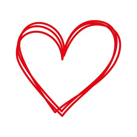 lineaire cartoon hand getrokken hart doodle vectorillustratie