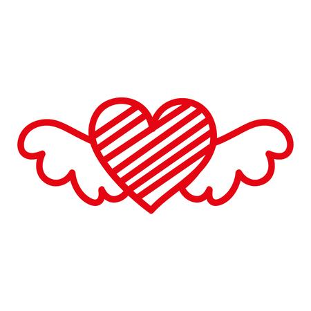 로맨스와 사랑 벡터 일러스트를 상징하는 줄무늬가있는 빨간색 로맨틱 날개 달린 마음