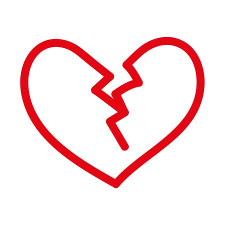 broken heart icon divorce end of love symbol vector illustration
