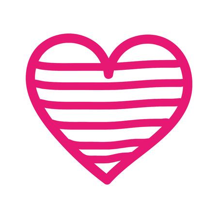 Corazón amor romance pasión decorar rayas vector illustration Foto de archivo - 88826942