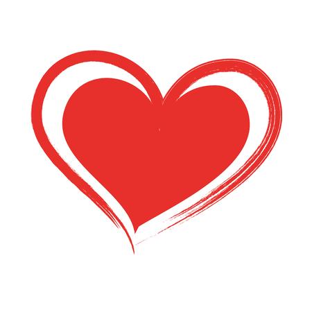 brush drawing heart love romance passion vector illustration Illusztráció