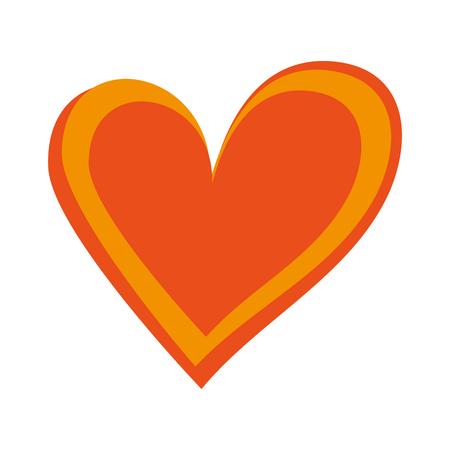 orange heart love romance passion decoration vector illustration