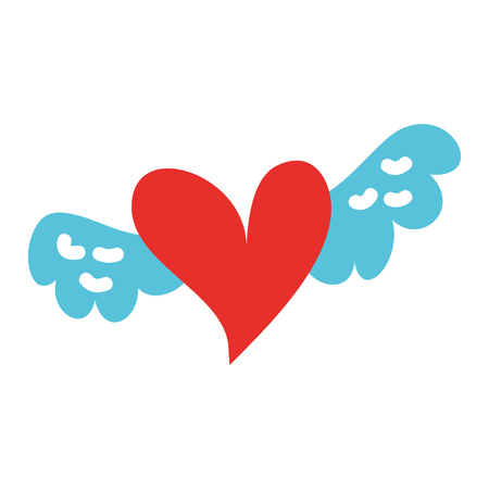 romantic winged heart symbolising romance and love vector illustration 版權商用圖片 - 88826988