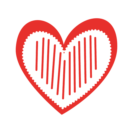 heart love romance passion decorate stripes vector illustration Banco de Imagens - 88827006