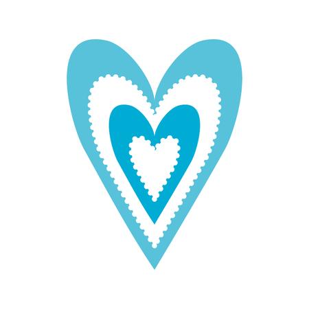 paper blue heart love romance passion decoration vector illustration
