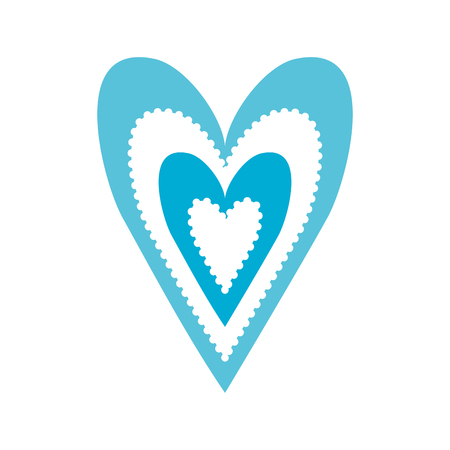 paper blue heart love romance passion decoration vector illustration
