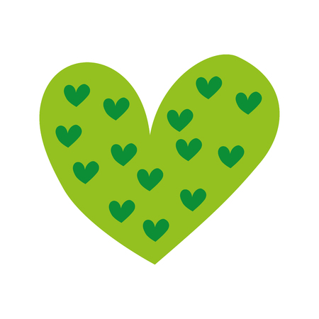 green heart love valentine celebration passion vector illustration