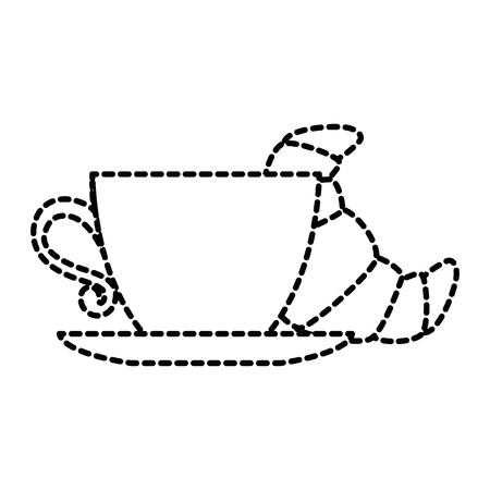 Köstliches Croissant mit Kaffee Tasse Vektor Illustration design Standard-Bild - 88827050
