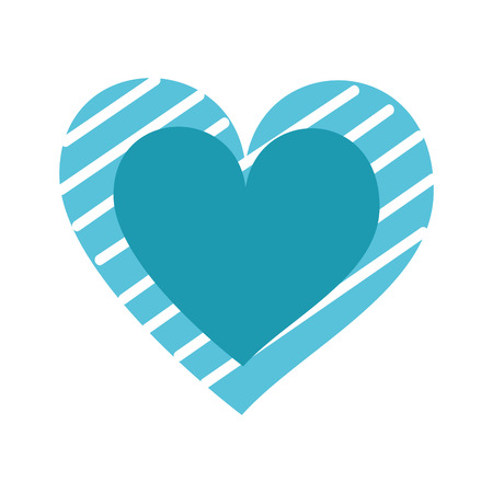 blue heart stripes love romance passion drawing vector illustration Illustration