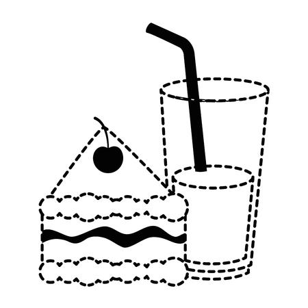 음료 벡터 일러스트 디자인으로 맛있는 케이크 부분 일러스트