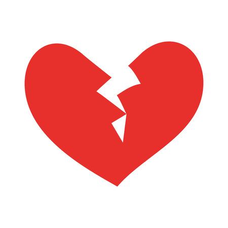 깨진 심장 아이콘 이혼 사랑 기호 벡터 일러스트 레이션의 끝