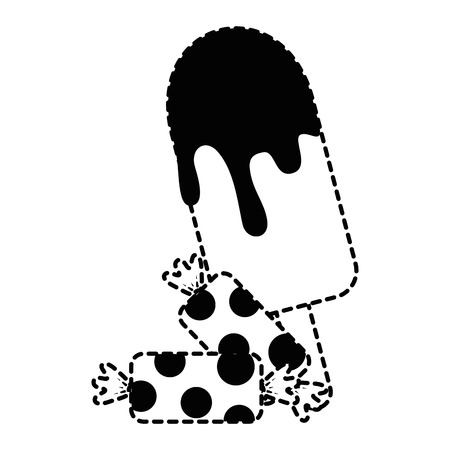 ice cream with candies vector illustration design
