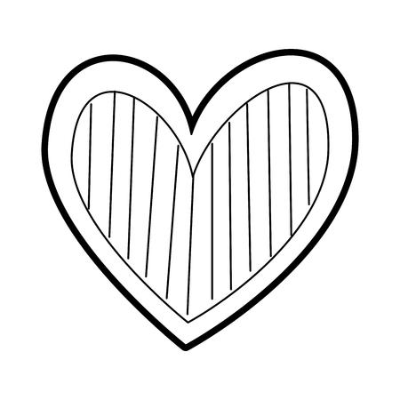 hart liefde romantiek passie versieren strepen vector illustratie