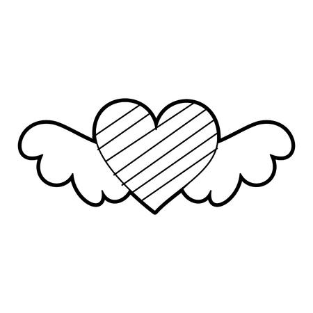 낭만적 인 날개 달린 마음을 상징하는 로맨스와 사랑 벡터 일러스트 레이션 일러스트