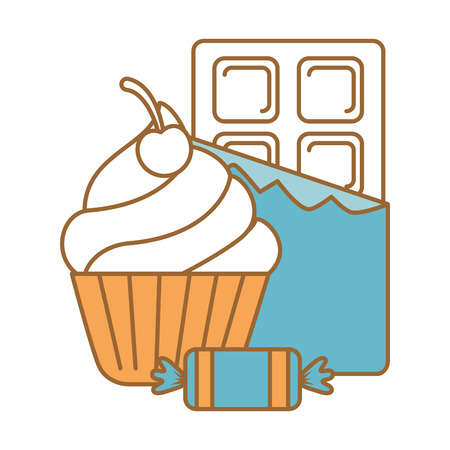 delicious cupcake with chocolate bar and candies vector illustration design Çizim
