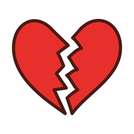 icono de corazón roto divorcio final de la ilustración de vector de símbolo de amor