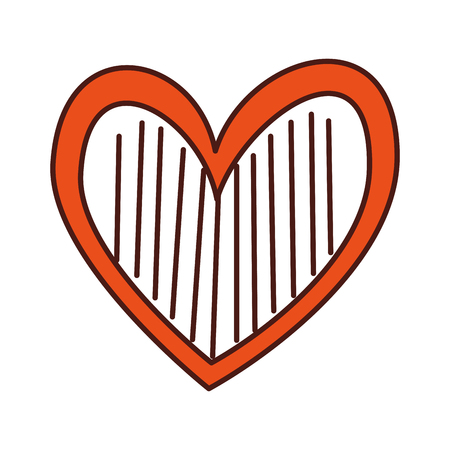 Corazón amor romance pasión decorar rayas vector illustration Foto de archivo - 88827142