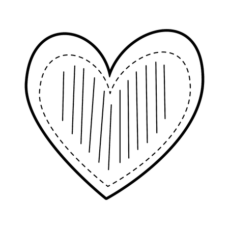 heart love romance passion decorate stripes dots vector illustration