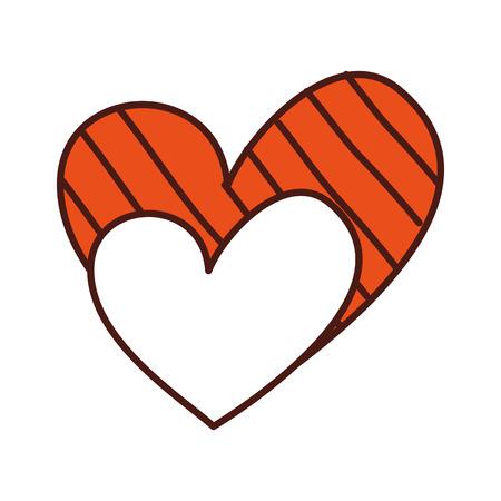 romantic love hearts stripes decoration happy vector illustration Illustration