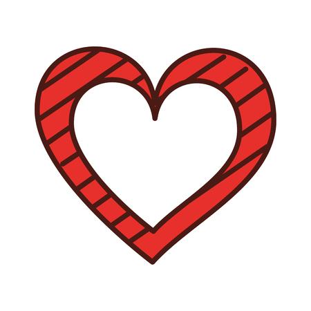 heart love romance passion with stripes graphic vector illustration Illusztráció