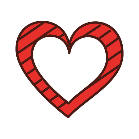 heart love romance passion with stripes graphic vector illustration Illustration