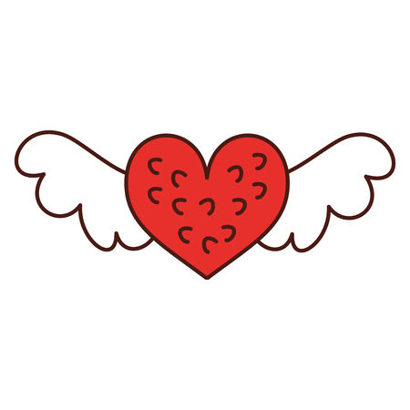 romantic winged heart symbolising romance and love vector illustration Stok Fotoğraf - 88827173