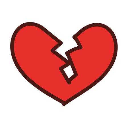 gebroken hart pictogram echtscheiding einde van liefde symbool vector illustratie