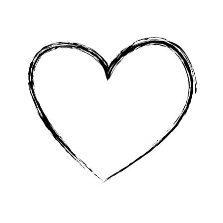 Pincel dibujo corazón amor romance pasión vector ilustración Foto de archivo - 88827181
