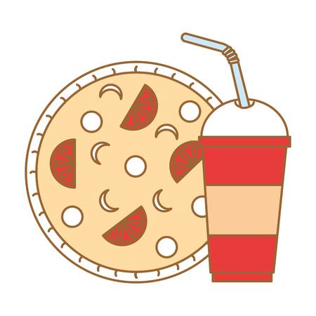 delicious italian pizza and soda vector illustration design