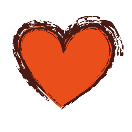 brush drawing heart love romance passion vector illustration 向量圖像