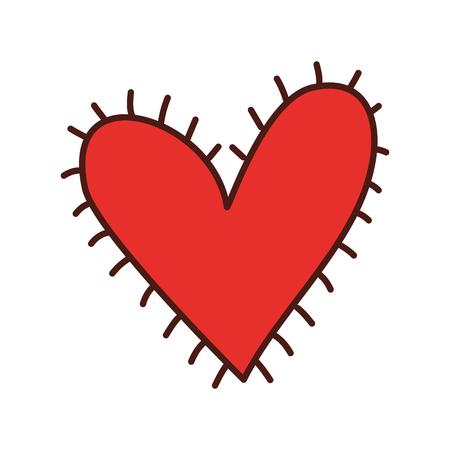 heart symbol and sunburst grunge isolated background vector illustration