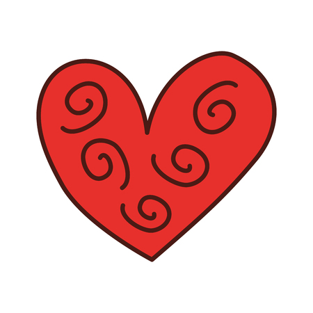 heart decorative element curly swirls vector illustration