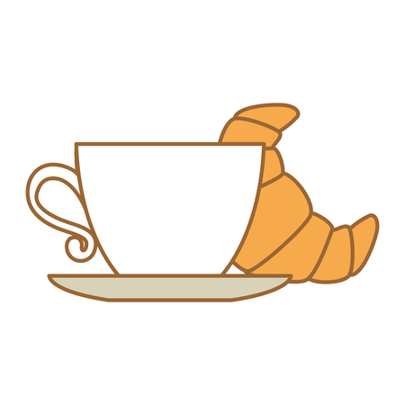 delicious croissant with coffee cup vector illustration design