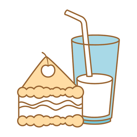 heerlijk cakegedeelte met ontwerp van de drank het vectorillustratie