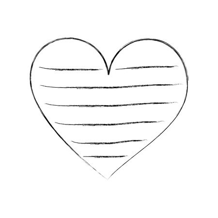 heart love romance passion decorate stripes vector illustration