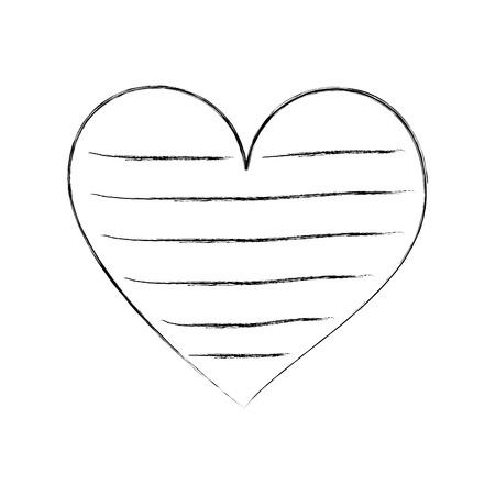 heart love romance passion decorate stripes vector illustration