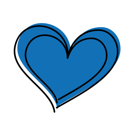 blue drawing heart love romance passion vector illustration