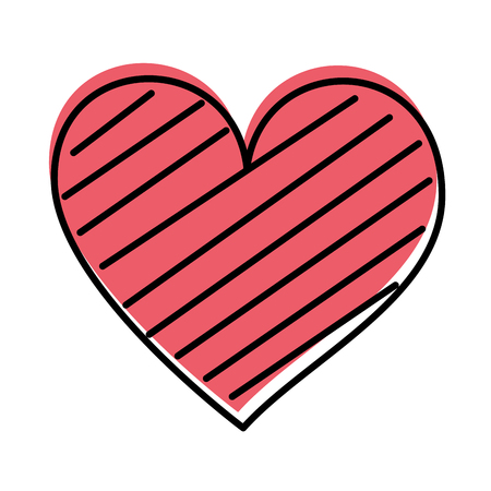 heart love romance passion decorate stripes vector illustration Banco de Imagens - 88827286