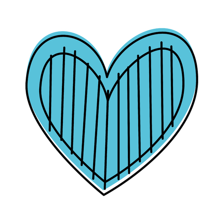 heart love romance passion decorate stripes vector illustration Banco de Imagens - 88827301