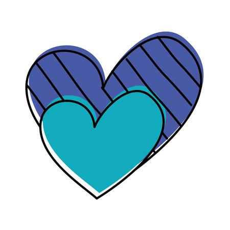 heart love romance passion decorate stripes dots vector illustration