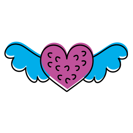 romantic winged heart symbolising romance and love vector illustration Stock fotó - 88827973