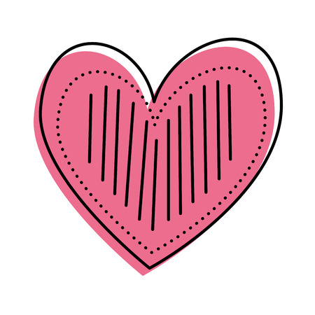 heart love romance decoration image linear dots vector illustration